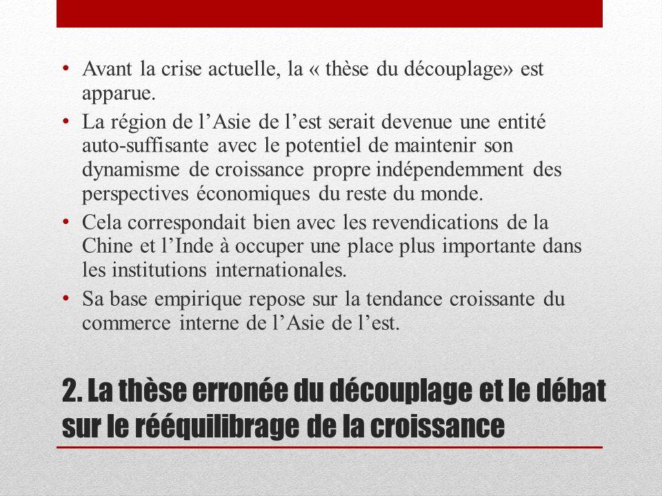 2. La thèse erronée du découplage et le débat sur le rééquilibrage de la croissance Avant la crise actuelle, la « thèse du découplage» est apparue. La