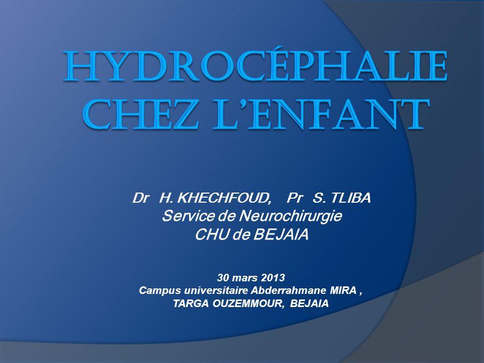 Dr H. KHECHFOUD, Pr S. TLIBA Service de Neurochirurgie CHU de BEJAIA 30 mars 2013 Campus universitaire Abderrahmane MIRA, TARGA OUZEMMOUR, BEJAIA