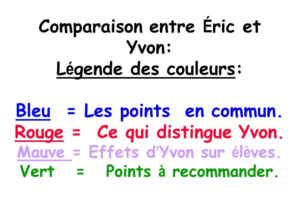 Comparaison entre É ric et Yvon: L é gende des couleurs: Bleu = Les points en commun.