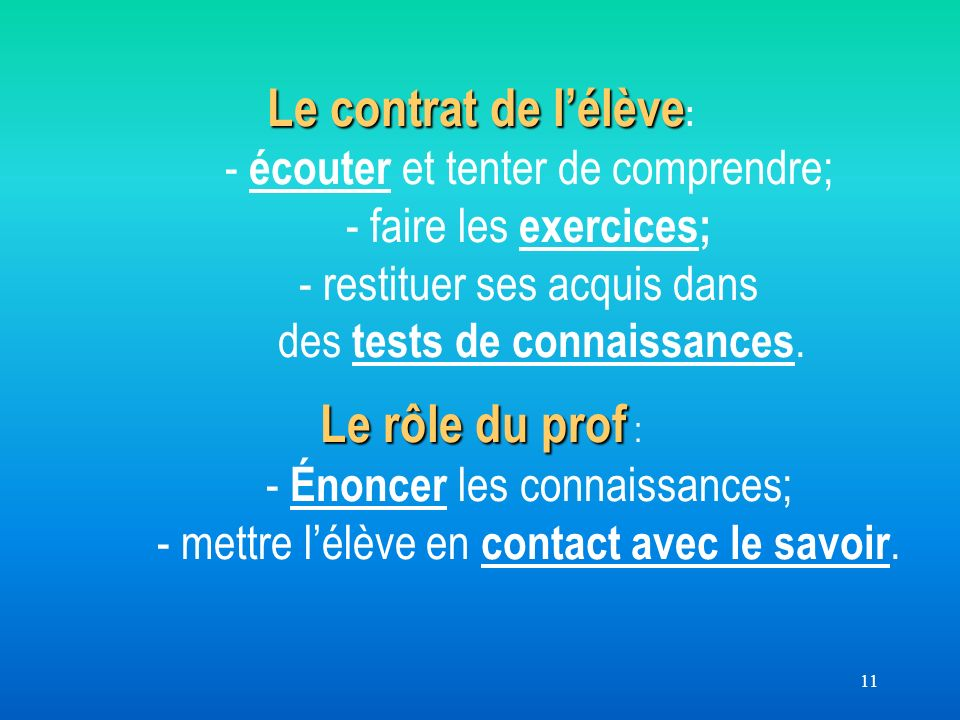 11 Le contrat de lélève Le rôle du prof Le contrat de lélève : - écouter et tenter de comprendre; - faire les exercices; - restituer ses acquis dans des tests de connaissances.