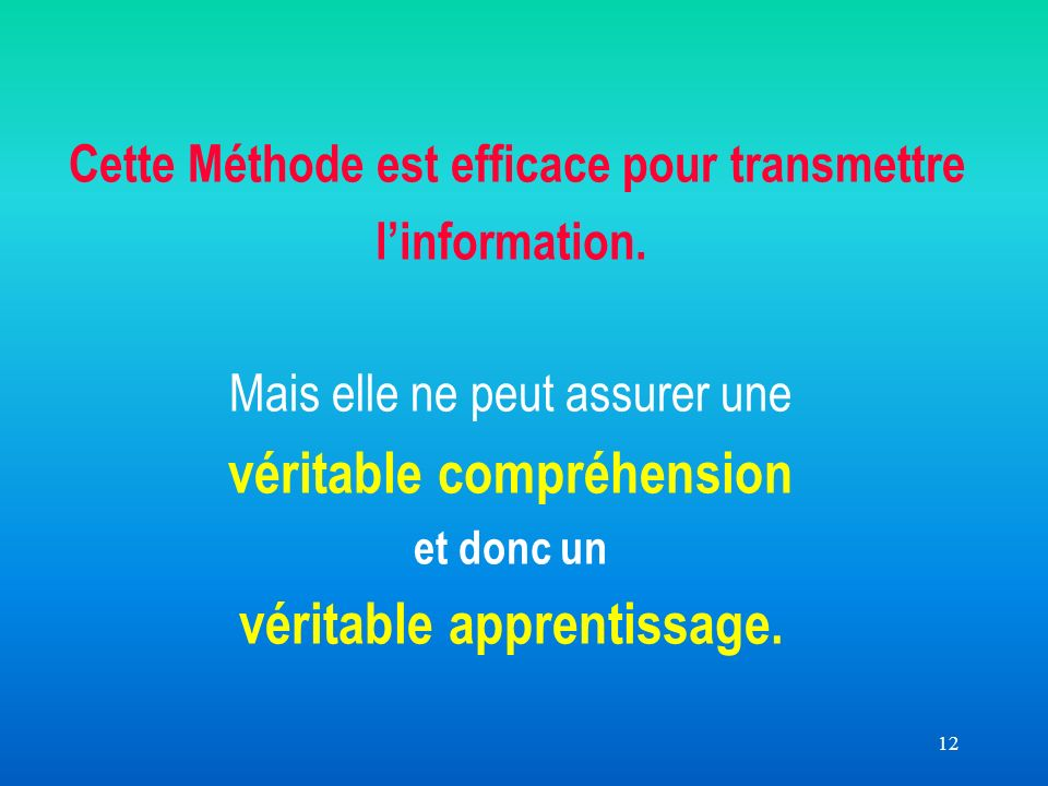 12 Cette Méthode est efficace pour transmettre linformation.