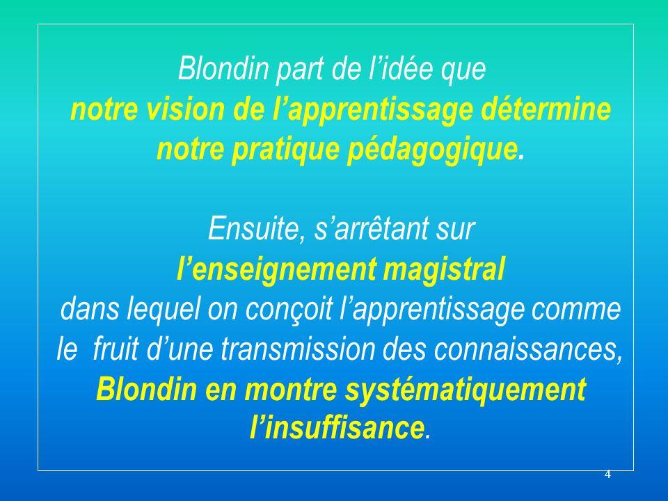 4 Blondin part de lidée que notre vision de lapprentissage détermine notre pratique pédagogique.