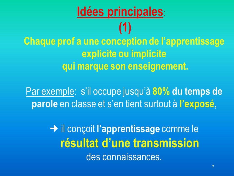 7 Idées principales : (1) Chaque prof a une conception de lapprentissage explicite ou implicite qui marque son enseignement.