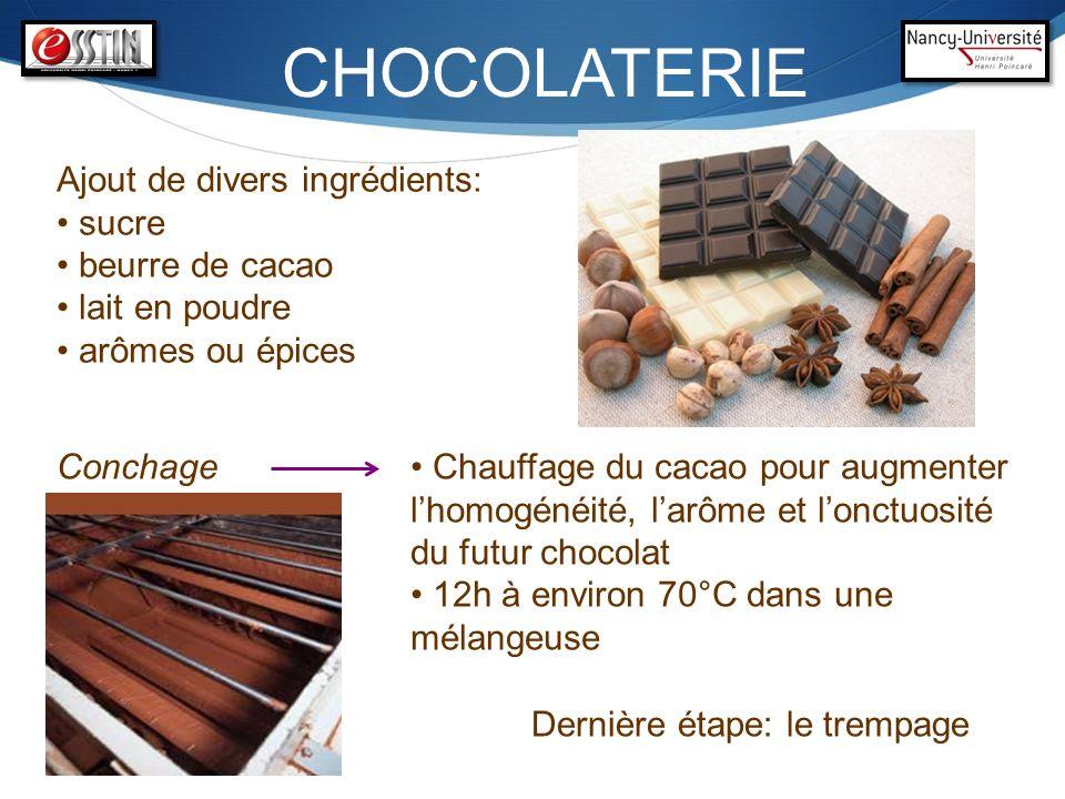 CHOCOLATERIE Conchage Chauffage du cacao pour augmenter lhomogénéité, larôme et lonctuosité du futur chocolat 12h à environ 70°C dans une mélangeuse A