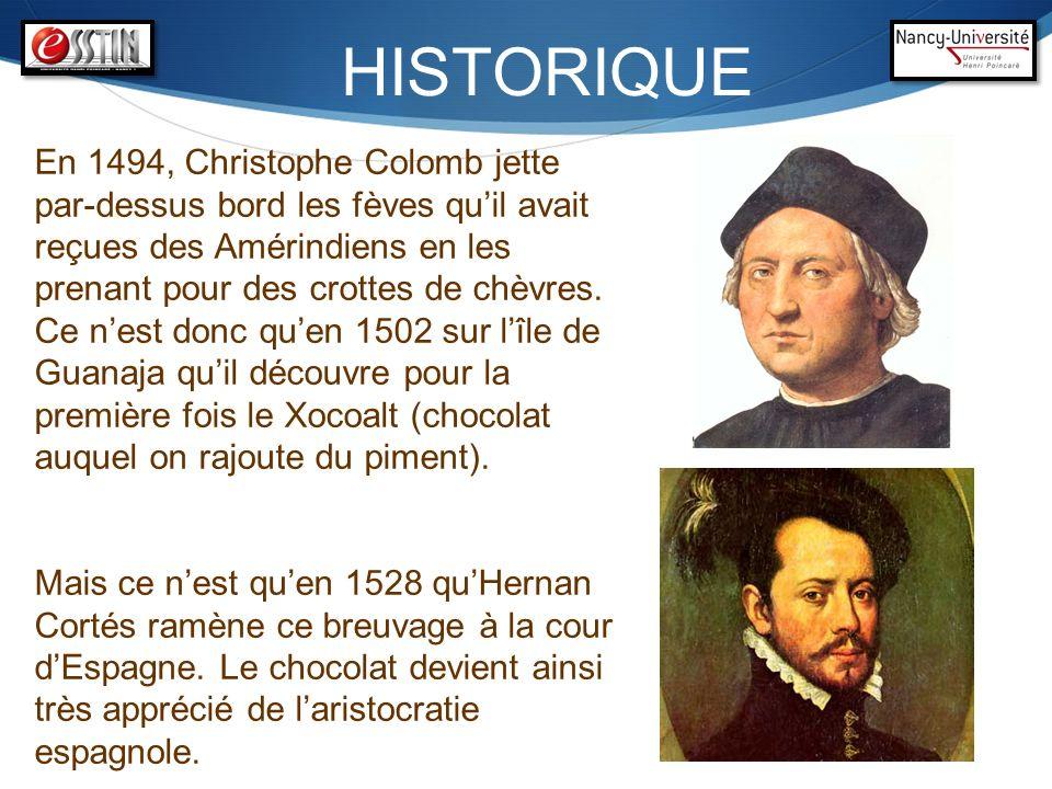 HISTORIQUE En 1494, Christophe Colomb jette par-dessus bord les fèves quil avait reçues des Amérindiens en les prenant pour des crottes de chèvres. Ce