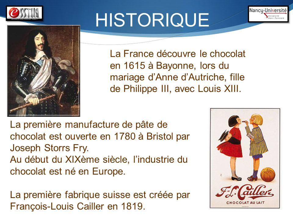 HISTORIQUE La première manufacture de pâte de chocolat est ouverte en 1780 à Bristol par Joseph Storrs Fry. Au début du XIXème siècle, lindustrie du c