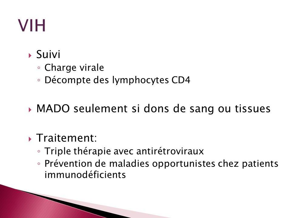 Suivi Charge virale Décompte des lymphocytes CD4 MADO seulement si dons de sang ou tissues Traitement: Triple thérapie avec antirétroviraux Prévention
