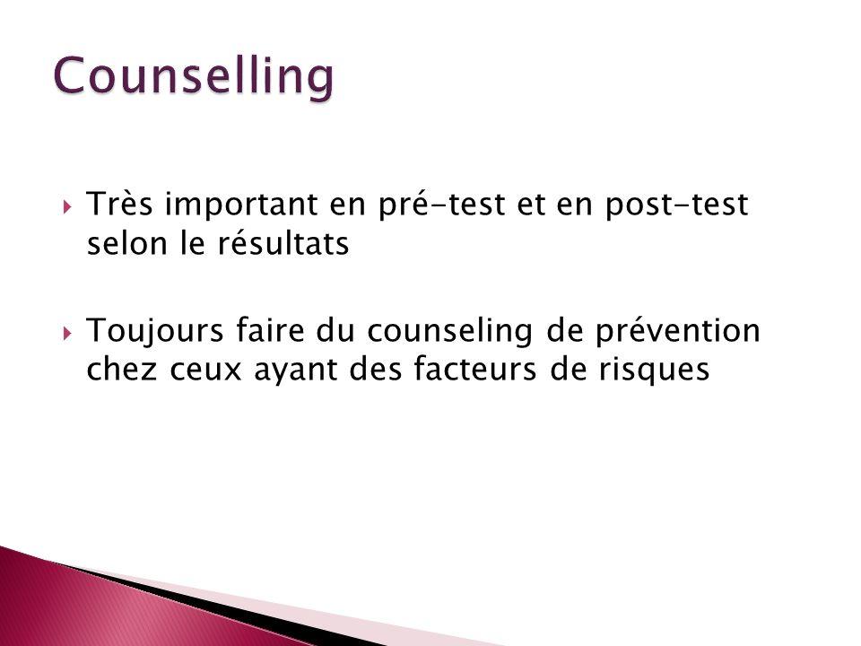 Très important en pré-test et en post-test selon le résultats Toujours faire du counseling de prévention chez ceux ayant des facteurs de risques