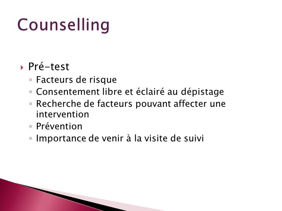 Pré-test Facteurs de risque Consentement libre et éclairé au dépistage Recherche de facteurs pouvant affecter une intervention Prévention Importance d