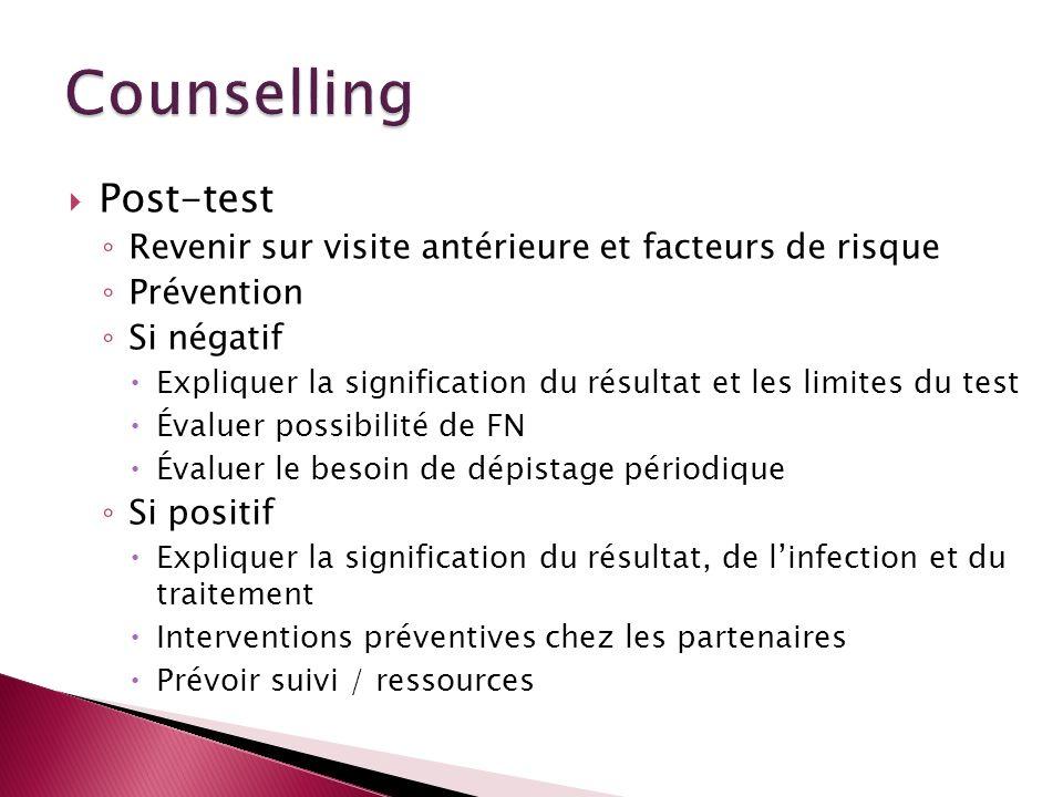 Post-test Revenir sur visite antérieure et facteurs de risque Prévention Si négatif Expliquer la signification du résultat et les limites du test Éval
