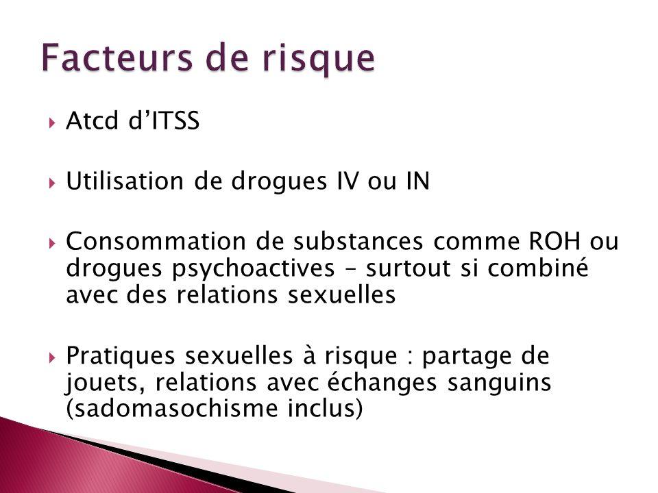 Atcd dITSS Utilisation de drogues IV ou IN Consommation de substances comme ROH ou drogues psychoactives – surtout si combiné avec des relations sexue