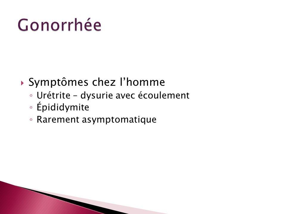 Symptômes chez lhomme Urétrite – dysurie avec écoulement Épididymite Rarement asymptomatique