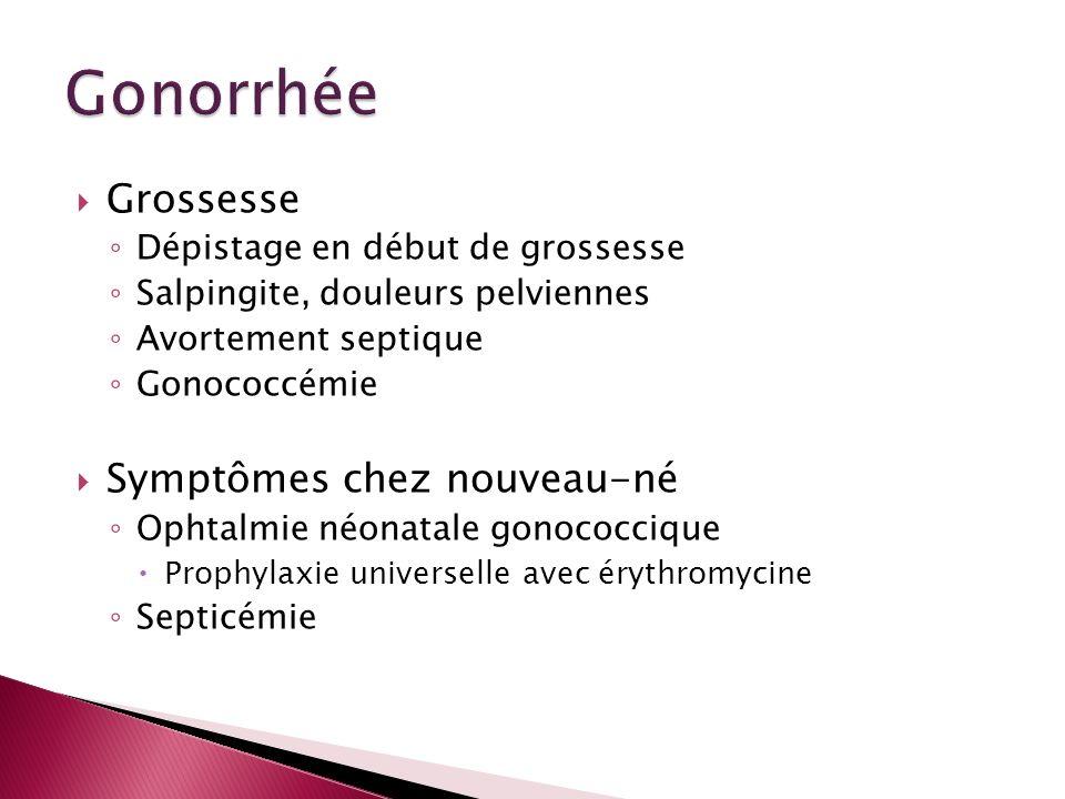 Grossesse Dépistage en début de grossesse Salpingite, douleurs pelviennes Avortement septique Gonococcémie Symptômes chez nouveau-né Ophtalmie néonata