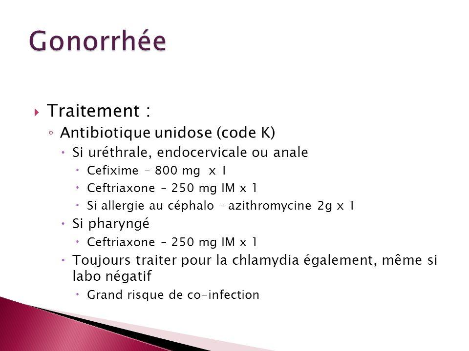 Traitement : Antibiotique unidose (code K) Si uréthrale, endocervicale ou anale Cefixime – 800 mg x 1 Ceftriaxone – 250 mg IM x 1 Si allergie au cépha