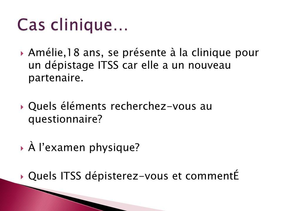Amélie,18 ans, se présente à la clinique pour un dépistage ITSS car elle a un nouveau partenaire. Quels éléments recherchez-vous au questionnaire? À l