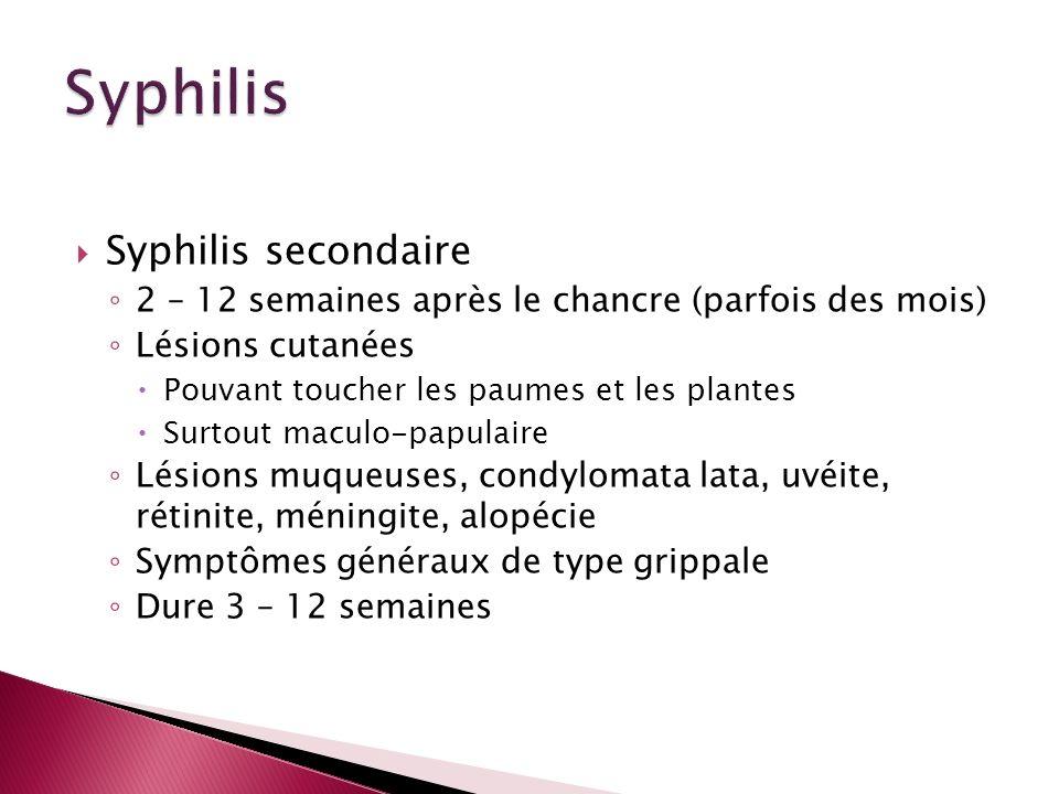 Syphilis secondaire 2 – 12 semaines après le chancre (parfois des mois) Lésions cutanées Pouvant toucher les paumes et les plantes Surtout maculo-papu