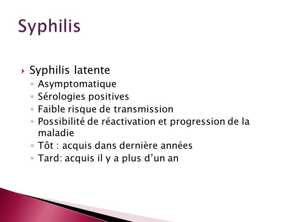 Syphilis latente Asymptomatique Sérologies positives Faible risque de transmission Possibilité de réactivation et progression de la maladie Tôt : acqu