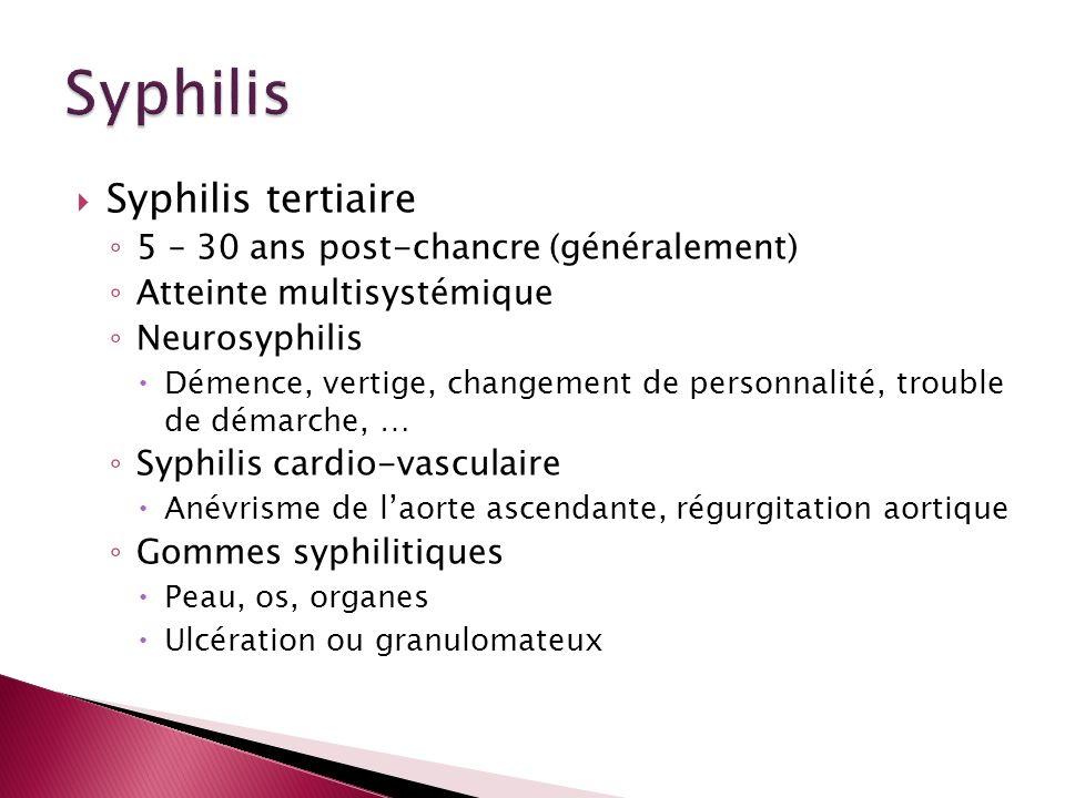 Syphilis tertiaire 5 – 30 ans post-chancre (généralement) Atteinte multisystémique Neurosyphilis Démence, vertige, changement de personnalité, trouble