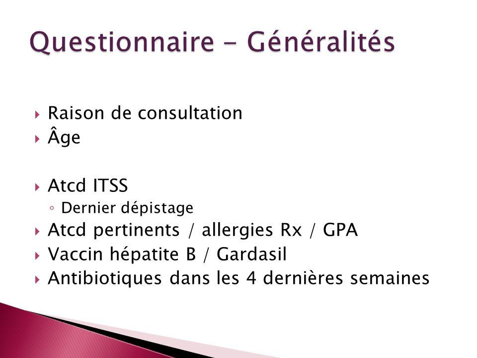 Raison de consultation Âge Atcd ITSS Dernier dépistage Atcd pertinents / allergies Rx / GPA Vaccin hépatite B / Gardasil Antibiotiques dans les 4 dern