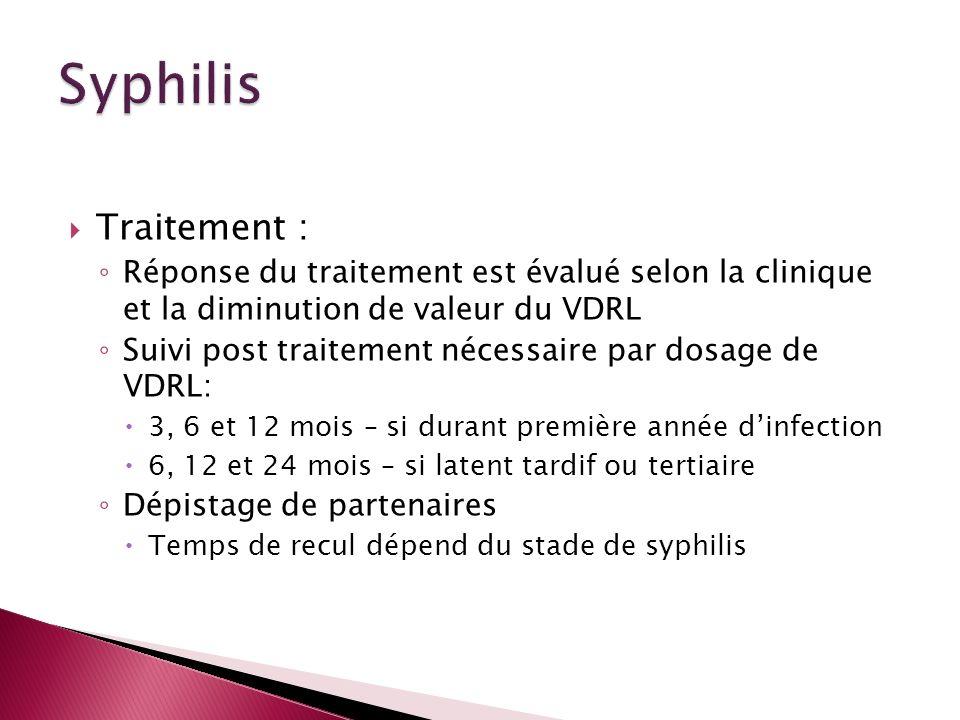 Traitement : Réponse du traitement est évalué selon la clinique et la diminution de valeur du VDRL Suivi post traitement nécessaire par dosage de VDRL