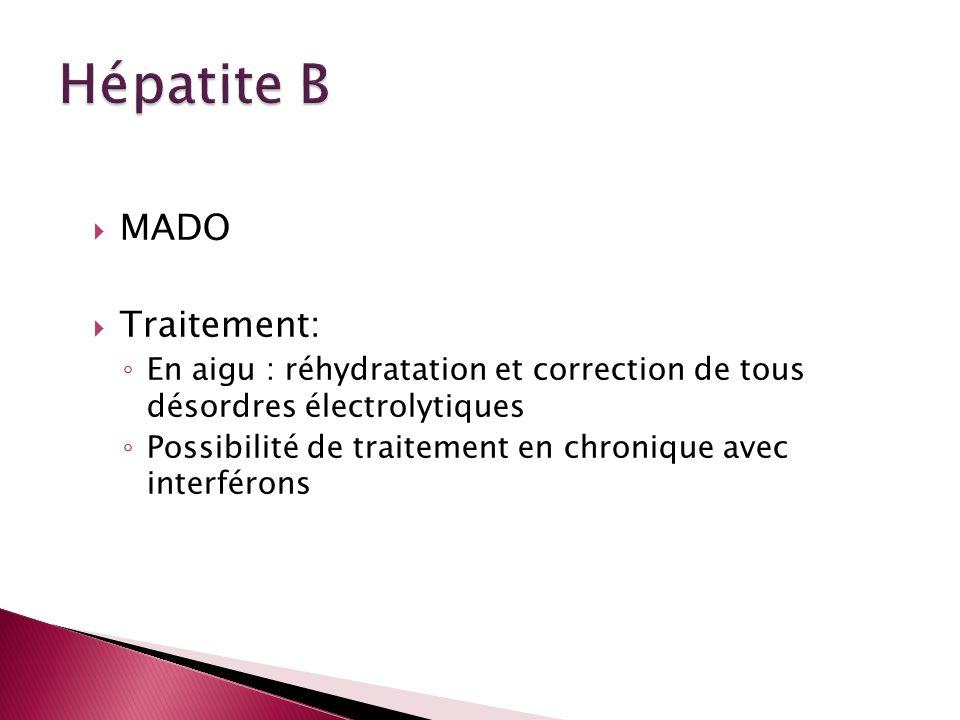 MADO Traitement: En aigu : réhydratation et correction de tous désordres électrolytiques Possibilité de traitement en chronique avec interférons