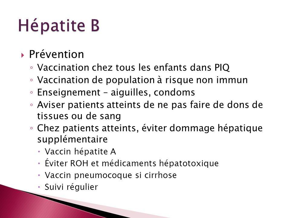 Prévention Vaccination chez tous les enfants dans PIQ Vaccination de population à risque non immun Enseignement – aiguilles, condoms Aviser patients a