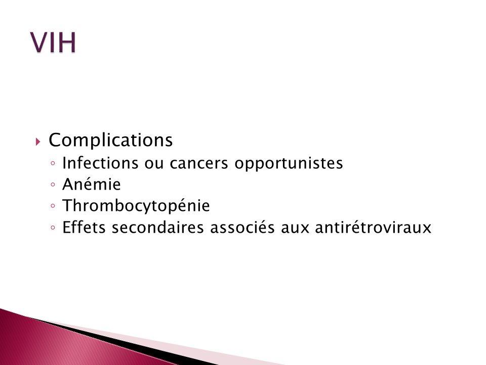 Complications Infections ou cancers opportunistes Anémie Thrombocytopénie Effets secondaires associés aux antirétroviraux