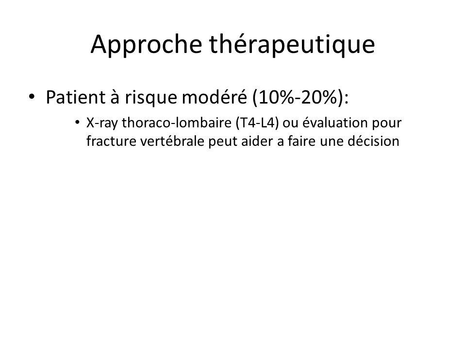 Approche thérapeutique Patient à risque modéré (10%-20%): X-ray thoraco-lombaire (T4-L4) ou évaluation pour fracture vertébrale peut aider a faire une décision