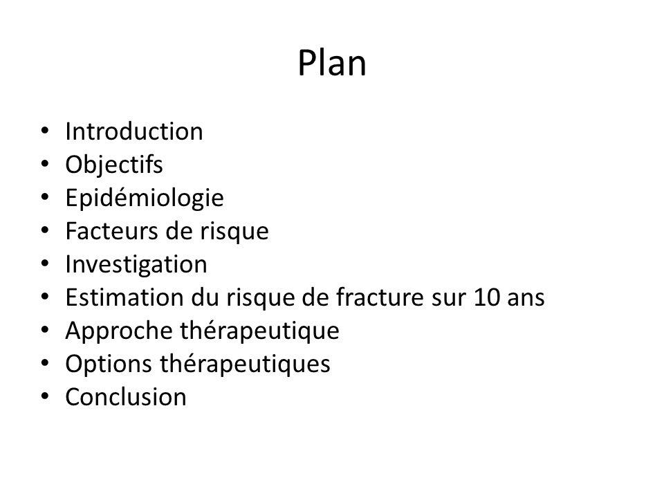 Plan Introduction Objectifs Epidémiologie Facteurs de risque Investigation Estimation du risque de fracture sur 10 ans Approche thérapeutique Options thérapeutiques Conclusion