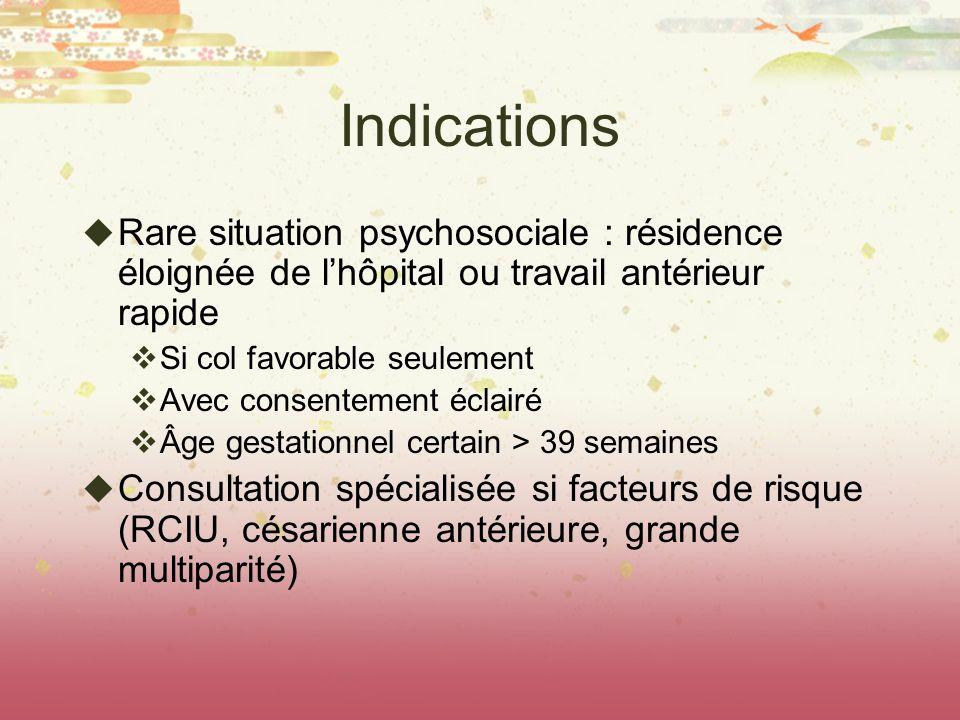 Indications Rare situation psychosociale : résidence éloignée de lhôpital ou travail antérieur rapide Si col favorable seulement Avec consentement écl