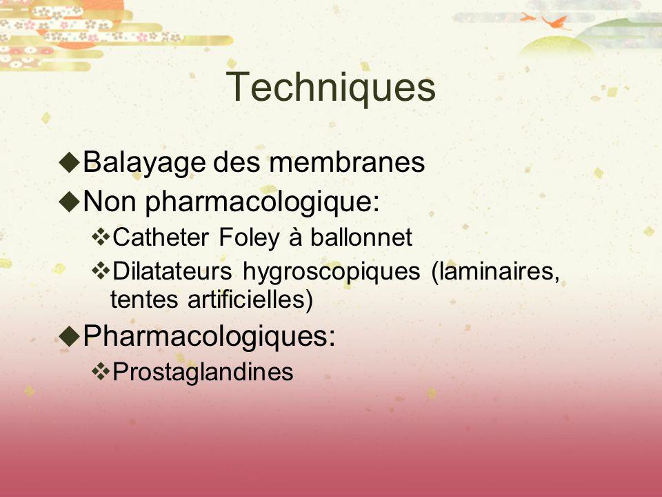 Techniques Balayage des membranes Non pharmacologique: Catheter Foley à ballonnet Dilatateurs hygroscopiques (laminaires, tentes artificielles) Pharma