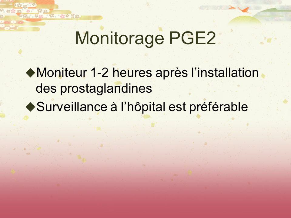 Monitorage PGE2 Moniteur 1-2 heures après linstallation des prostaglandines Surveillance à lhôpital est préférable
