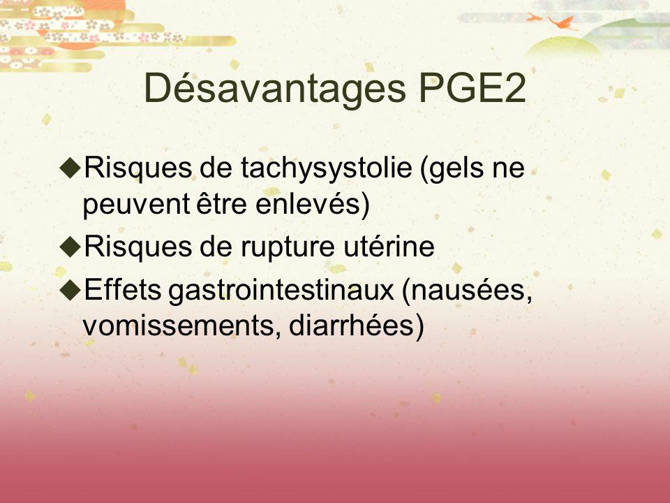 Désavantages PGE2 Risques de tachysystolie (gels ne peuvent être enlevés) Risques de rupture utérine Effets gastrointestinaux (nausées, vomissements,