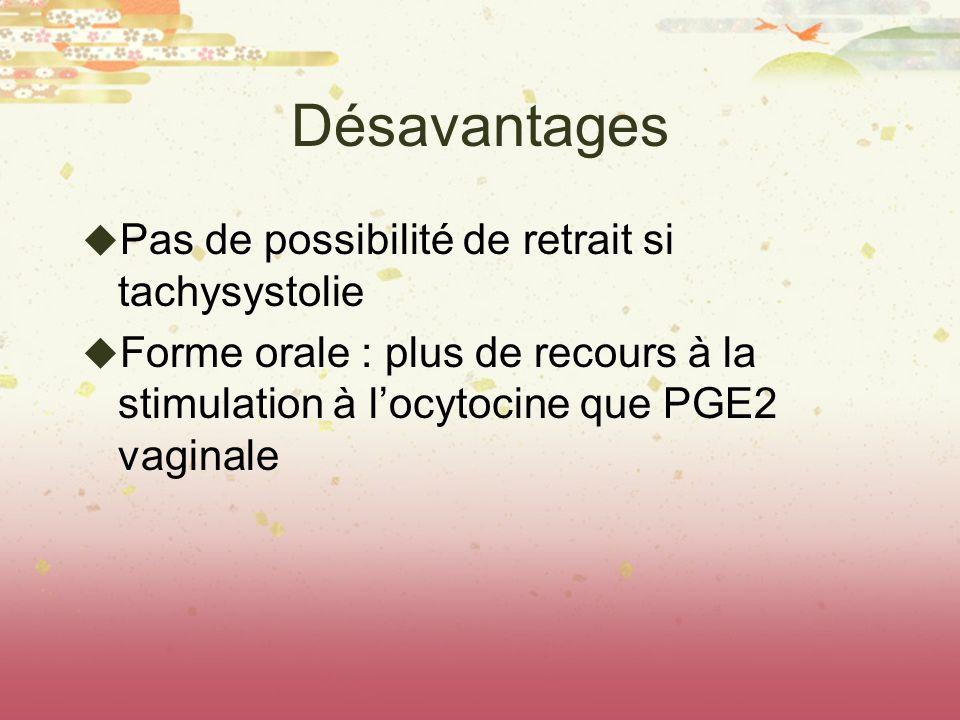 Désavantages Pas de possibilité de retrait si tachysystolie Forme orale : plus de recours à la stimulation à locytocine que PGE2 vaginale