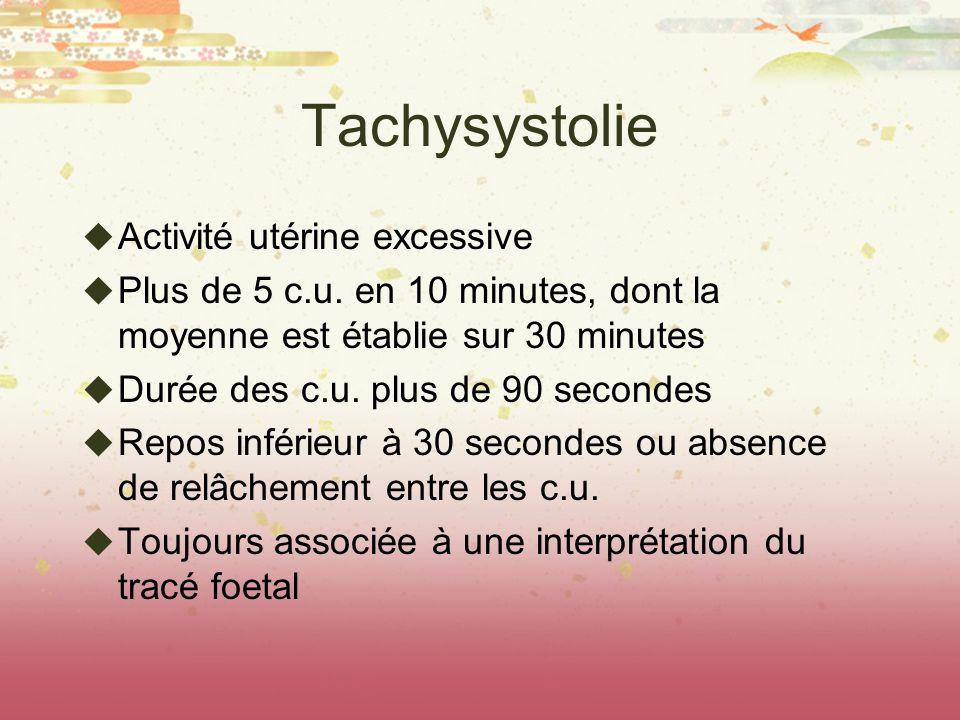Tachysystolie Activité utérine excessive Plus de 5 c.u. en 10 minutes, dont la moyenne est établie sur 30 minutes Durée des c.u. plus de 90 secondes R