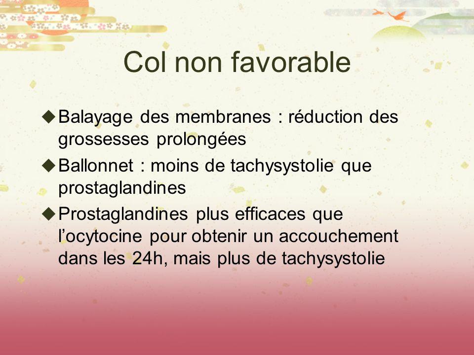 Col non favorable Balayage des membranes : réduction des grossesses prolongées Ballonnet : moins de tachysystolie que prostaglandines Prostaglandines