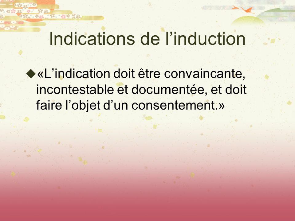 Indications de linduction «Lindication doit être convaincante, incontestable et documentée, et doit faire lobjet dun consentement.»
