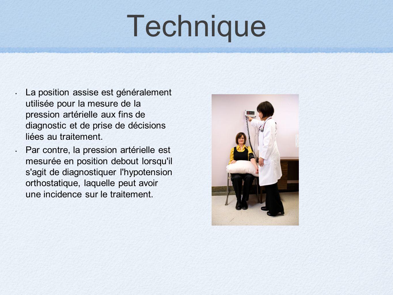 Technique La position assise est généralement utilisée pour la mesure de la pression artérielle aux fins de diagnostic et de prise de décisions liées
