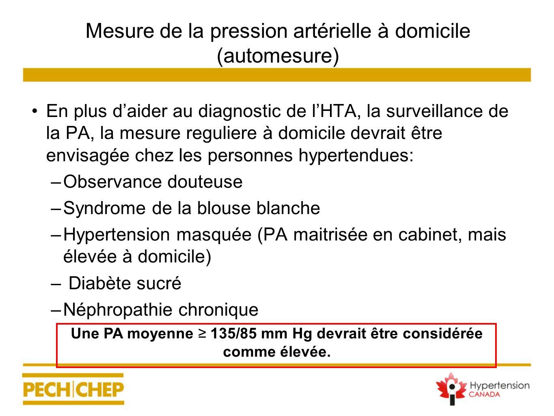 Mesure de la pression artérielle à domicile (automesure) En plus daider au diagnostic de lHTA, la surveillance de la PA, la mesure reguliere à domicil