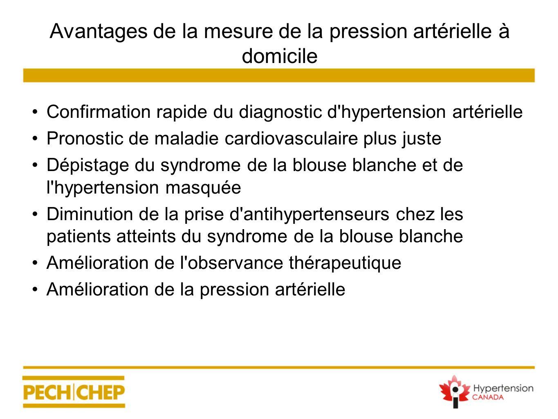 Avantages de la mesure de la pression artérielle à domicile Confirmation rapide du diagnostic d'hypertension artérielle Pronostic de maladie cardiovas