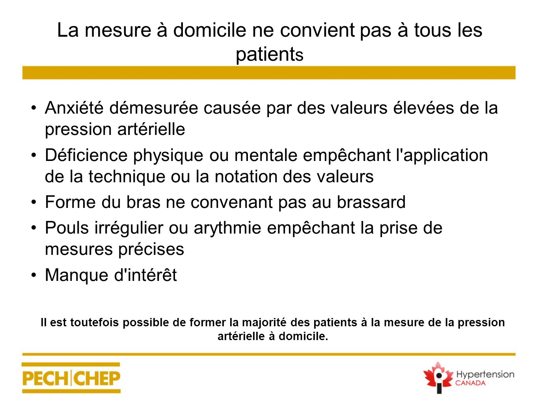 La mesure à domicile ne convient pas à tous les patient s Anxiété démesurée causée par des valeurs élevées de la pression artérielle Déficience physiq
