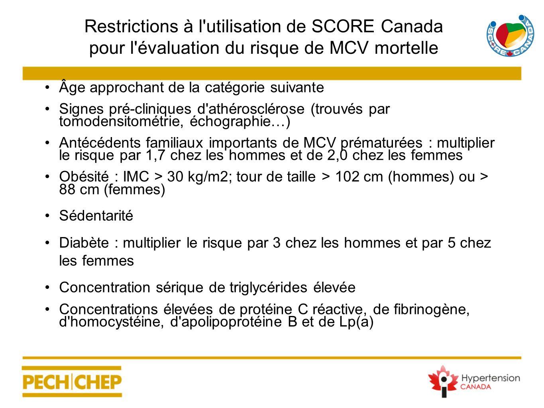 Restrictions à l'utilisation de SCORE Canada pour l'évaluation du risque de MCV mortelle Âge approchant de la catégorie suivante Signes pré-cliniques