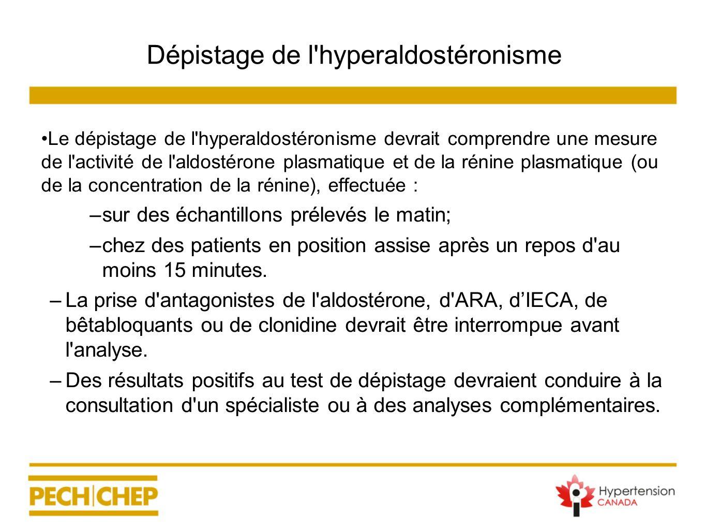 Dépistage de l'hyperaldostéronisme Le dépistage de l'hyperaldostéronisme devrait comprendre une mesure de l'activité de l'aldostérone plasmatique et d