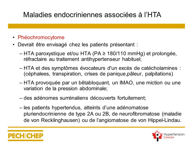 Phéochromocytome Devrait être envisagé chez les patients présentant : –HTA paroxystique et/ou HTA (PA 180/110 mmHg) et prolongée, réfractaire au trait