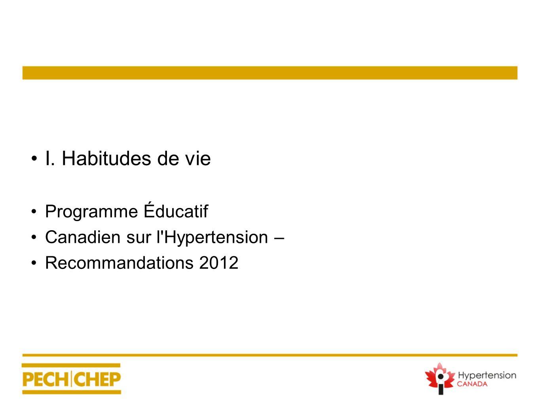 I. Habitudes de vie Programme Éducatif Canadien sur l'Hypertension – Recommandations 2012
