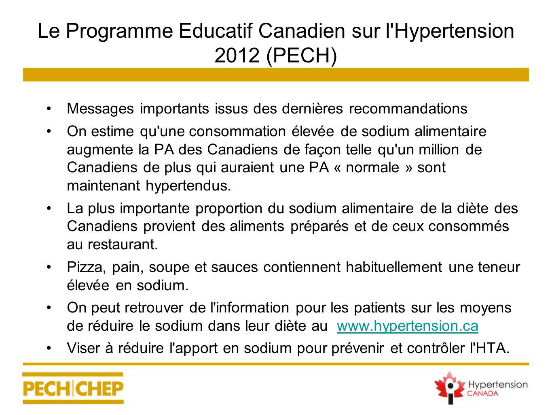 Le Programme Educatif Canadien sur l'Hypertension 2012 (PECH) Messages importants issus des dernières recommandations On estime qu'une consommation él