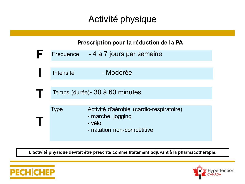 Activité physique Prescription pour la réduction de la PA TypeActivité d'aérobie (cardio-respiratoire) - marche, jogging - vélo - natation non-compéti