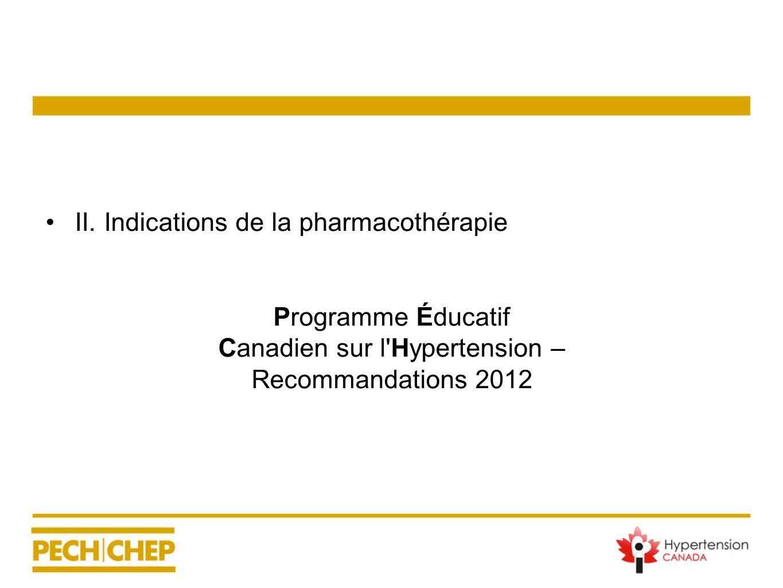 II. Indications de la pharmacothérapie Programme Éducatif Canadien sur l'Hypertension – Recommandations 2012