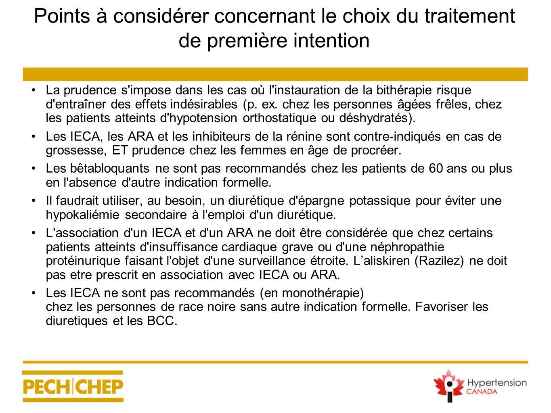 Points à considérer concernant le choix du traitement de première intention La prudence s'impose dans les cas où l'instauration de la bithérapie risqu