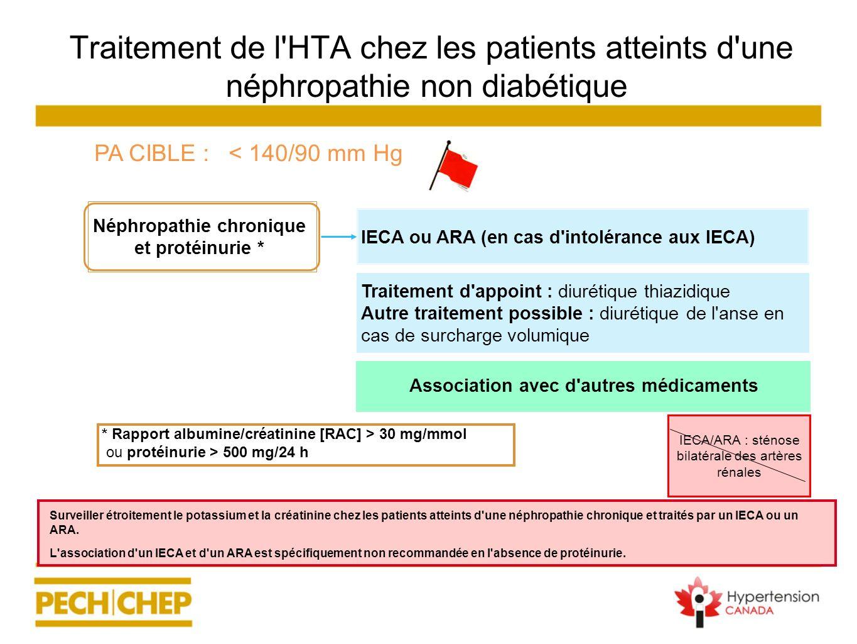 Traitement de l'HTA chez les patients atteints d'une néphropathie non diabétique Néphropathie chronique et protéinurie * IECA/ARA : sténose bilatérale